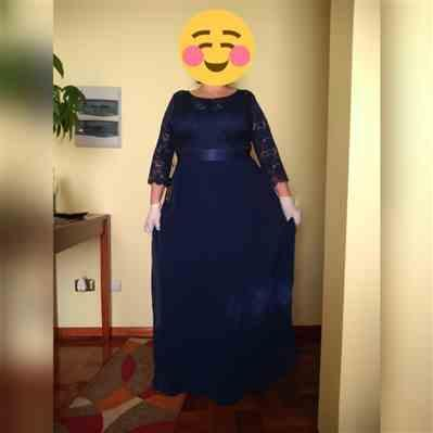 Amanda T. verified customer review of Plus Size Lace Long Sleeve Floor Length Dress