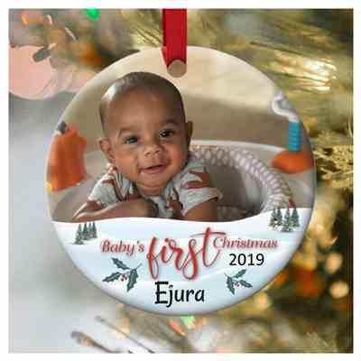 Stella Yates verified customer review of Baby's First Christmas Photo Personalized Ornament
