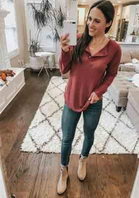Melissa verified customer review of Waffle Knit Long Sleeve Henley Tops