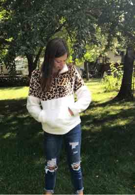 Shey Burns verified customer review of Leopard Print Zip Up Plush Pullover