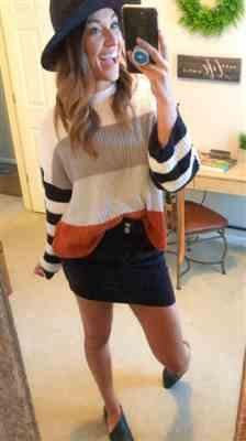 Weslily.com Color Block Long Sleeve Knit Sweater Review