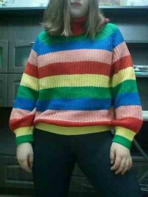 Pavacat Rainbow Striped Turtleneck Oversized Pullover Review