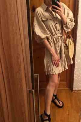 Pavacat Elegant Linen Lantern Sleeve Shirt Dress Review