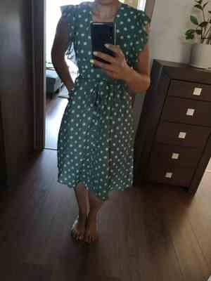 Pavacat V Neck Polka Dot Green Ruffle Summer Dress Review