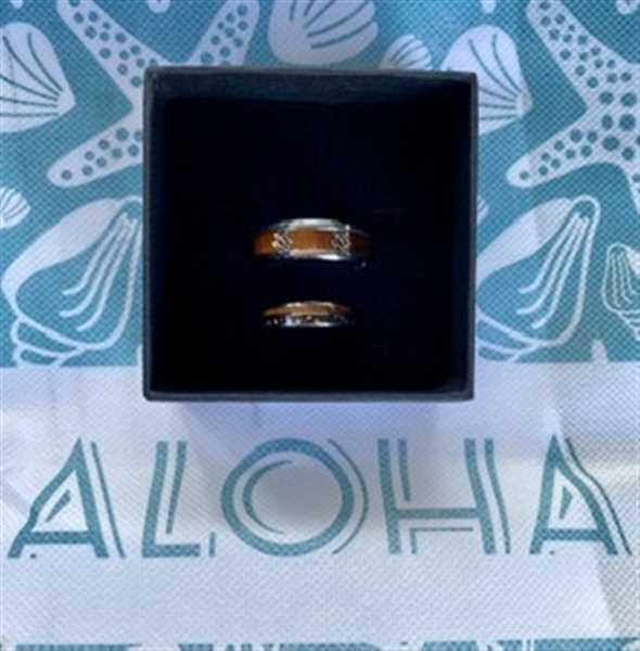 HappyLaulea Tungsten Carbide Ring with Crushed Fire Opal & Hawaiian Koa Wood Duo Inlay - 6mm, Dome Shape, Comfort Fitment Review