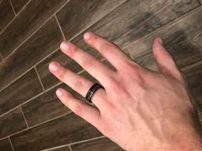 Riley Tarr verified customer review of Black & White Gold Tungsten Carbide Ring with Offset strip and Koa Wood Inlay -7.5mm Flat Shape, Comfort Fitment