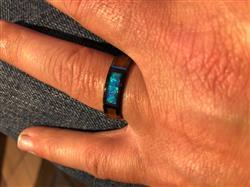 HappyLaulea HI-TECH Black Ceramic Beveled Ring with Koa Wood and Opal Inlay - 6mm, Flat Shape, Comfort Fitment Review