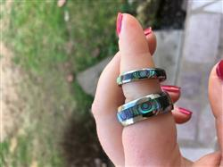 Heather H. verified customer review of Pair of 4&8mm Abalone Shell Tungsten Carbide Couple/Wedding Band Set - Dome Shape, Comfort Fitment
