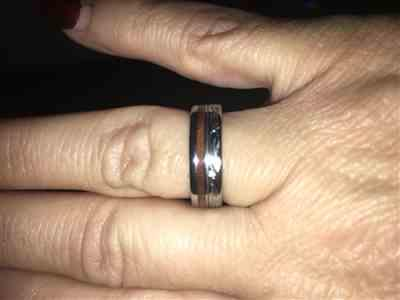 denise perkins verified customer review of Titanium Ring with Koa Wood Inlay Hand Engraved with Hawaiian Heritage Design - 6mm, Flat Shape, Standard Fitment