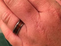 Sara R. verified customer review of Tungsten Carbide Ring with Koa Wood Inlay, 6mm, Flat Shape, Comfort Fitment