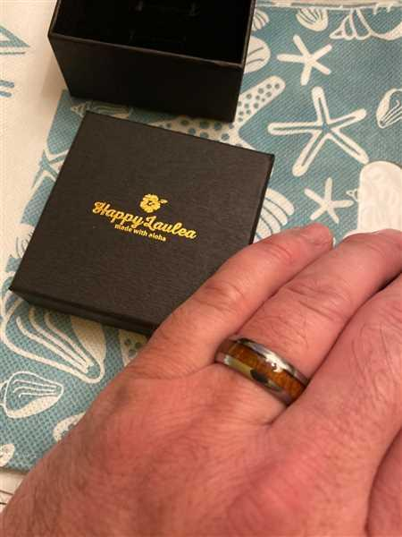 Jerry Davidson verified customer review of Tungsten Carbide Ring with Koa Wood Inlay, 8mm, Dome Shape, Comfort Fitment