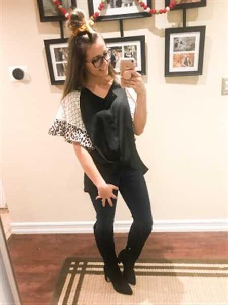 Aggie verified customer review of Leopard Print Lace Patchwork Sleeve Blouse