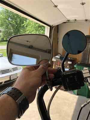 Christina C. verified customer review of Round Motorcycle Mirror - Perch Mount - Black with Retro Blue Glass