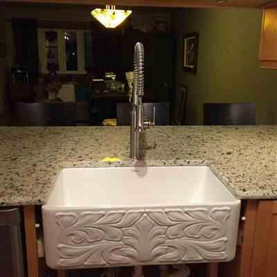 Connie  verified customer review of Reversible Series 30 Fireclay kitchen sink with Gothichaus design