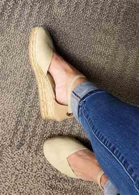 Michelle L. verified customer review of Pubol Canvas Espadrille Wedges - Beige