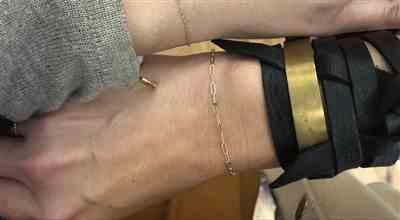 Michelle P. verified customer review of LEATHER AND METAL WRAP BRACELET