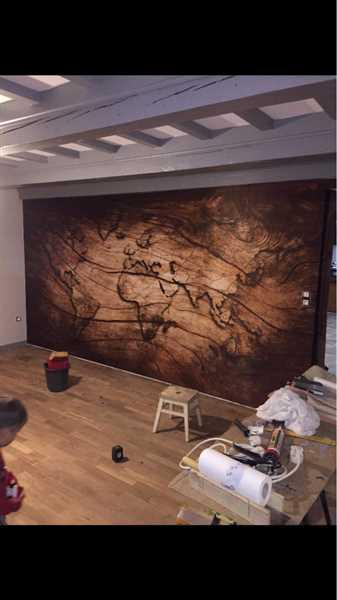 Customer verified customer review of 3D Worldmap Vintage Wood Grain Wallpaper Sticker