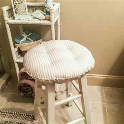 Kim W. verified customer review of Ticking Stripe Natural Bar Stool Cover with Adjustable Drawstring Yoke