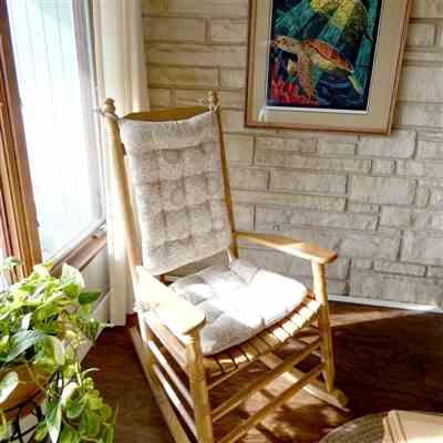 Anne G. verified customer review of Souvenir Scroll Stone Grey Portuguese Tile Rocking Chair Cushions - Size Extra Large- Latex Foam Fill