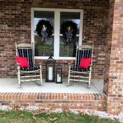 Jeanel Dennis verified customer review of Pursuit Black & White Stripe Porch Rocker Cushions - Latex Foam Fill - Fade Resistant