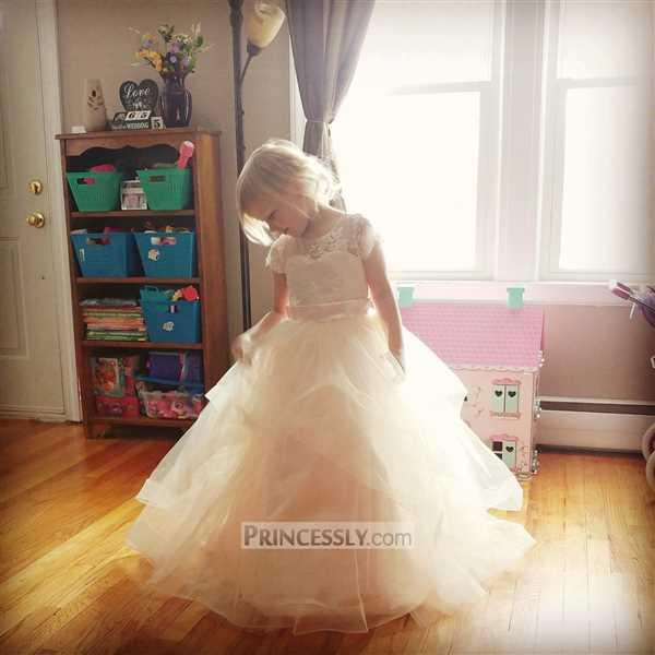 Flower Girl Dresses Ivory Lace Pink Tulle Cap Sleeves Wedding Flower Girl Dress with Horsehair Hem Review