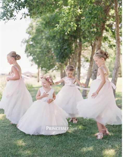 Flower Girl Dresses V Neck Ivory Satin Champagne Tulle Wedding Flower Girl Dress with Beaded Belt Review