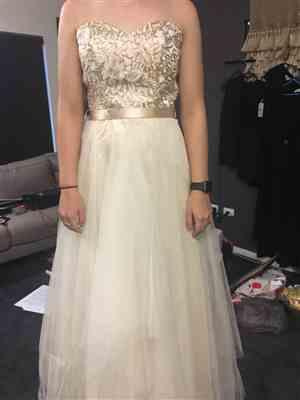 Tania Sweetman verified customer review of Gold Strapless Long Prom Dress Appliqued Bodice