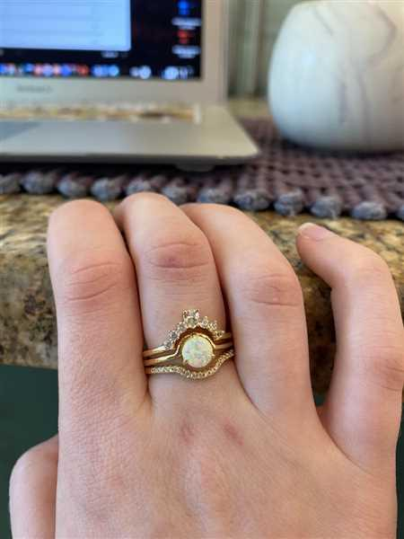 local eclectic Circle Stacking Ring Set in Gold with White Opal Review