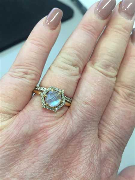 local eclectic Moonstone & Diamond Hexagon Ring Review