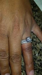 Ericka P. verified customer review of Round Moissanite Bridal Set with Pave-Set Diamond 1 4/5 CTW 14k White Gold
