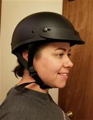 Miranda J. verified customer review of Smallest lightest DOT Beanie Helmet - Flat Black w/Peak