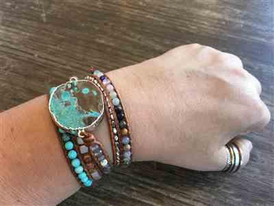 Catherine D. verified customer review of Hawaiian Ocean Jasper Leather Wrap Bracelet