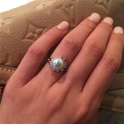 Amanda H verified customer review of 2 ctw Pearl Halo Ring - 40% Final Sale