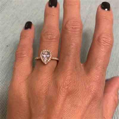 D K verified customer review of 1.5 ctw Pear Halo Ring - Yellow GP