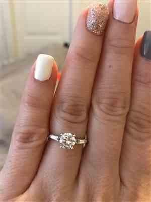 Christa V. verified customer review of 1.25 ctw Round Baguette Solitaire Ring - 60% Final Sale
