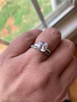 Katie N. verified customer review of 2 ct Cushion Cut Solitaire Ring