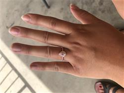 Sally Xiong verified customer review of 1.5 ctw Pear Halo Ring - Rose GP