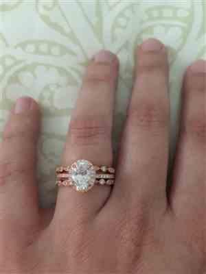 Rebecca N. verified customer review of 1.5 ctw Oval Halo Ring - Rose GP