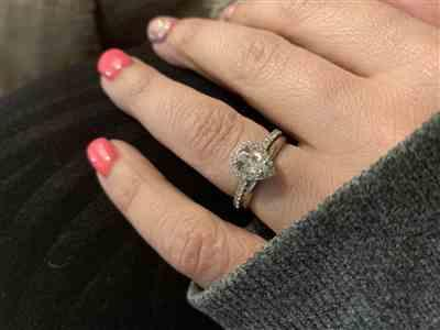 Sarah verified customer review of 1 ctw Pear Halo Ring