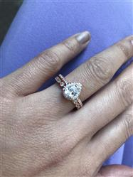 Kristine B verified customer review of 1 ctw Classic Pear Halo Ring - Rose GP