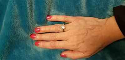 Krista Mason verified customer review of 1 ctw Classic Pear Halo Ring - Rose GP