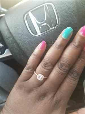 Tanya J. verified customer review of 1.25 ctw Square Halo Ring - Rose GP