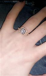 Skylar Durbin  verified customer review of 2.25 ctw Square Halo Ring - Rose GP