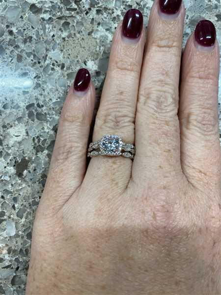 Courtney Thayer verified customer review of 1.25 ctw Art Deco Halo Three Band Set