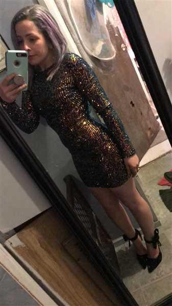 Ashley  verified customer review of Harper Multi Green Sequin Long Sleeve Dress