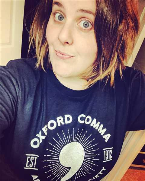 Carly K. verified customer review of Men's Oxford Comma Appreciation Society T-Shirt