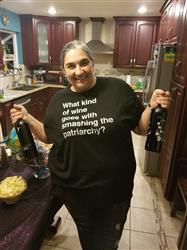 Kathryn P. verified customer review of Men's What Kind of Wine Goes with Smashing the Patriarchy? T-Shirt Funny Feminist Shirt