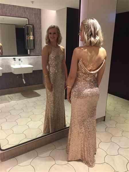 Jess C. verified customer review of BADGLEY MISCHKA  Sequinned Cowl-Back Evening Gown - RRP $810