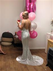 Abbie S. verified customer review of Honey Couture ROSALIE Silver Low Back Sequin Formal Gown Dress