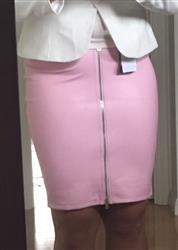 Audy Y. verified customer review of Honey Couture ZOE Pink Vegan Leather Zip Front Pencil Skirt